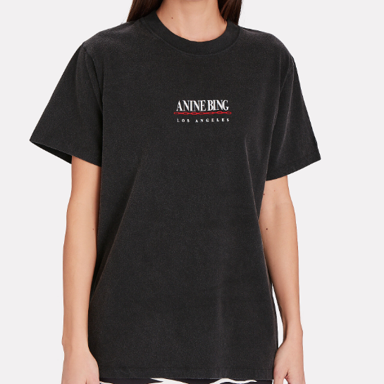 ANINE BING 女士炭黑基础短袖 T 恤