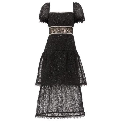 SELF-PORTRAIT 水晶亮片装饰蕾丝裙