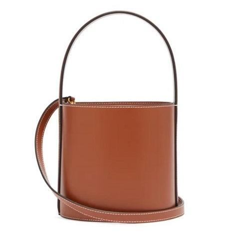 STAUD Bisset 棕色迷你款水桶包