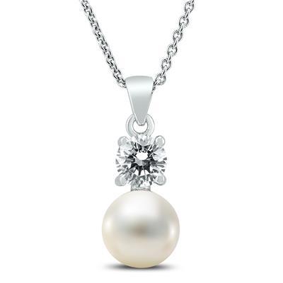 SZUL 施华洛世奇水晶珍珠银项链
