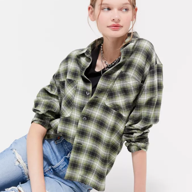 UO Dustin Flannel Button-Down Shirt 法兰绒格纹衬衫