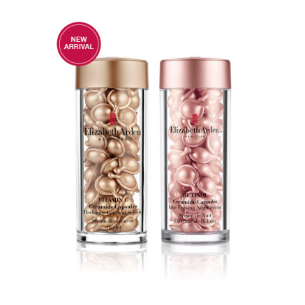 Elizabeth Arden Vitamin C Ceramide Radiance Renewal Serum and Retinol Ceramide Capsules Line Erasing Night Serum Duo