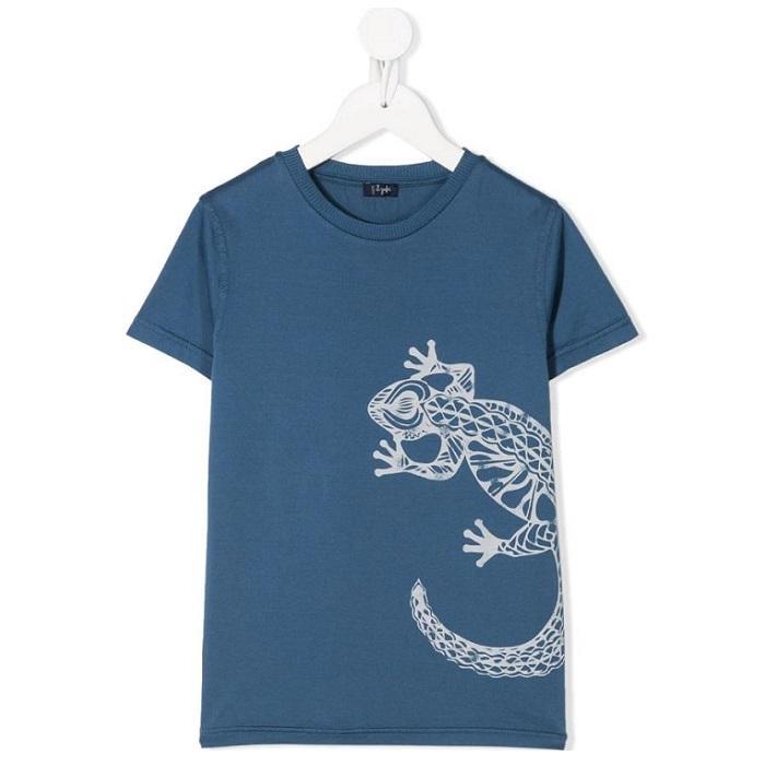 IL GUFO 童款蜥蜴印花T恤
