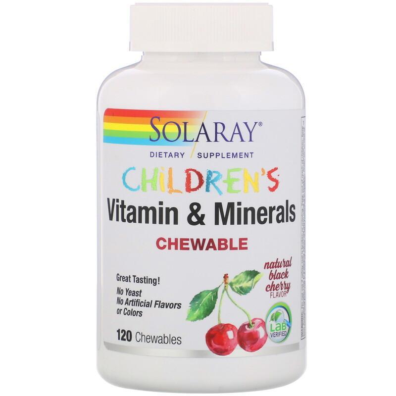 Solaray 儿童专用维生素矿物咀嚼片 黑樱桃味 120片