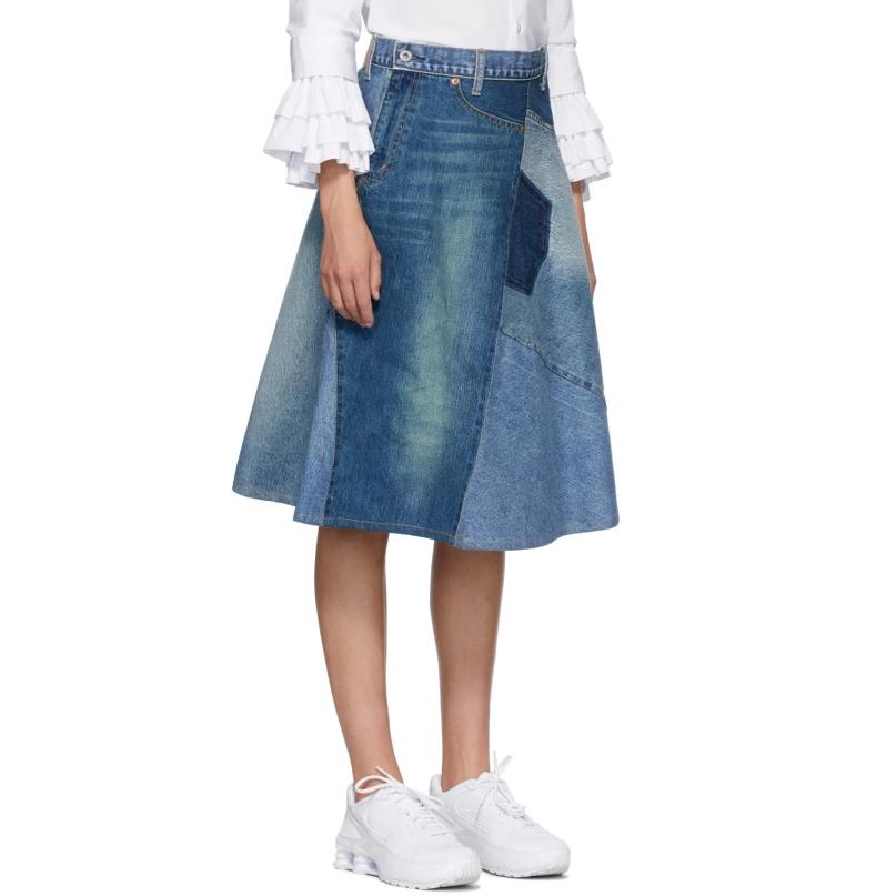 Junya Watanabe 蓝色拼布半身裙