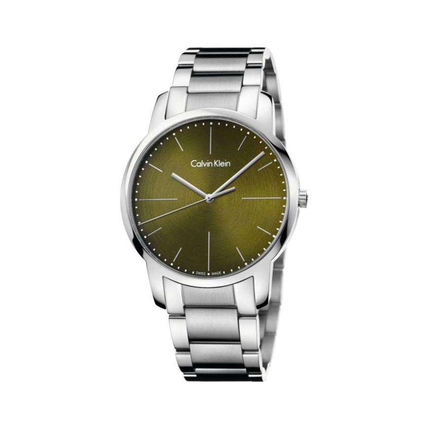 Calvin Klein 卡尔文·克莱因 City 系列 银绿色男士时装腕表 K2G2G14L