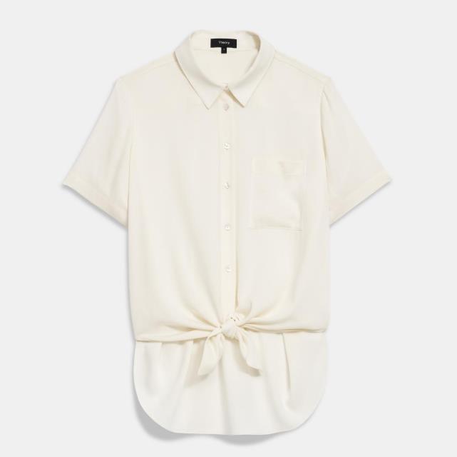 Theory 丝质打结短袖衬衫
