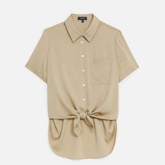 Theory 女士弹力丝绸打结设计衬衫