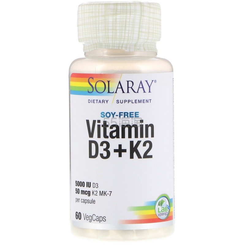 Solaray 维生素 D3+K2 60粒