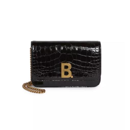 Balenciaga 巴黎世家 B 鳄鱼纹皮革链条包