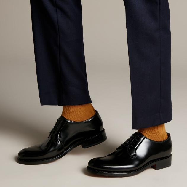 Clarks 其乐 Rhodes Plain 黑色绑带皮革鞋