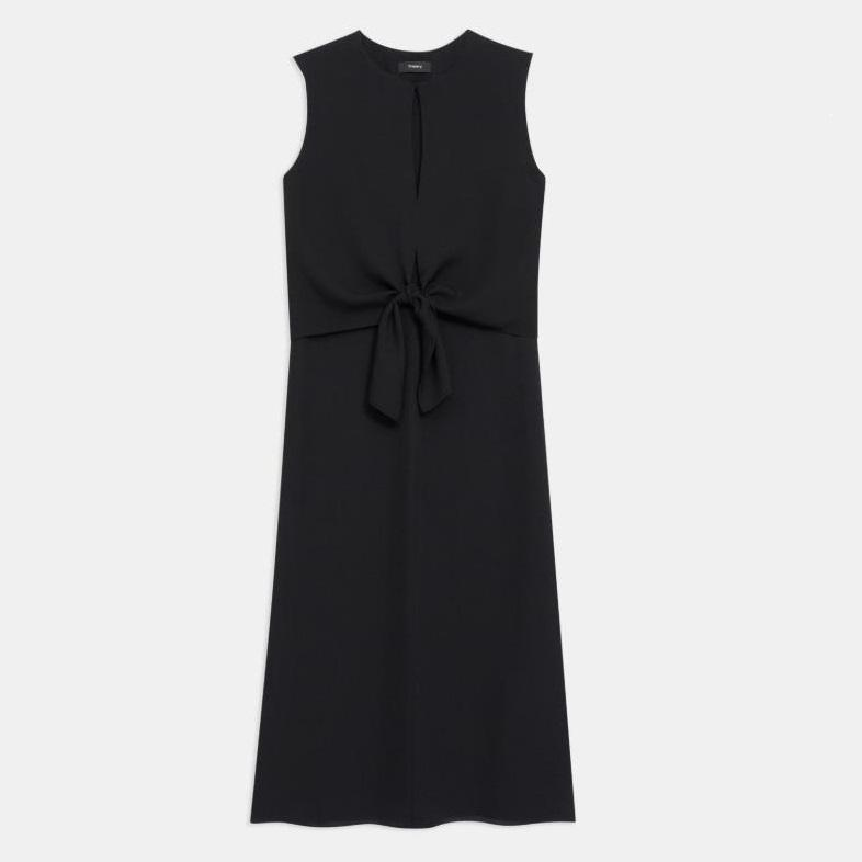 Theory 黑色打结设计丝质连衣裙