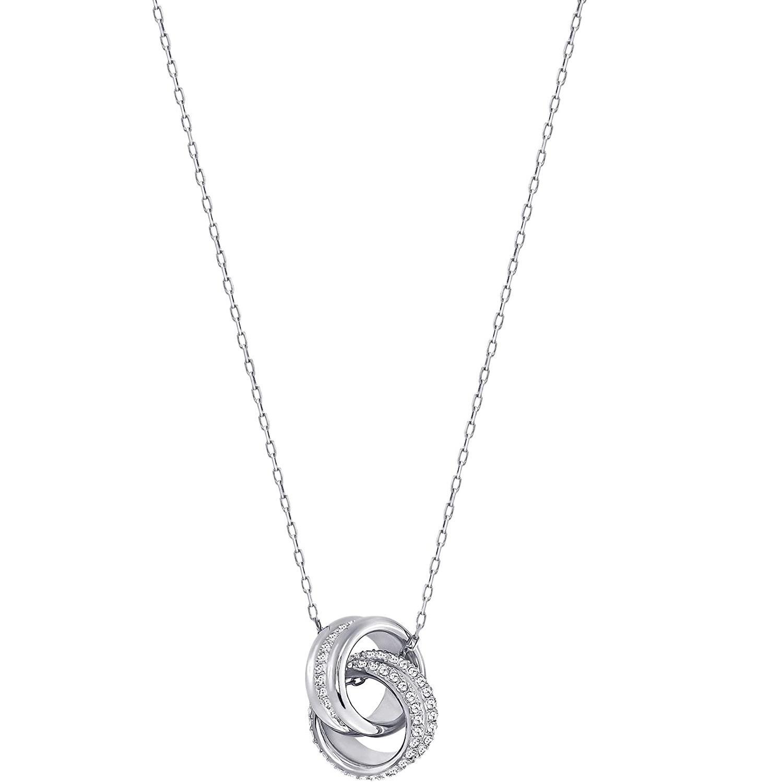 3件9.2折!Swarovski 施华洛世奇 双环水晶转运锁骨链项链 银色款 5240524