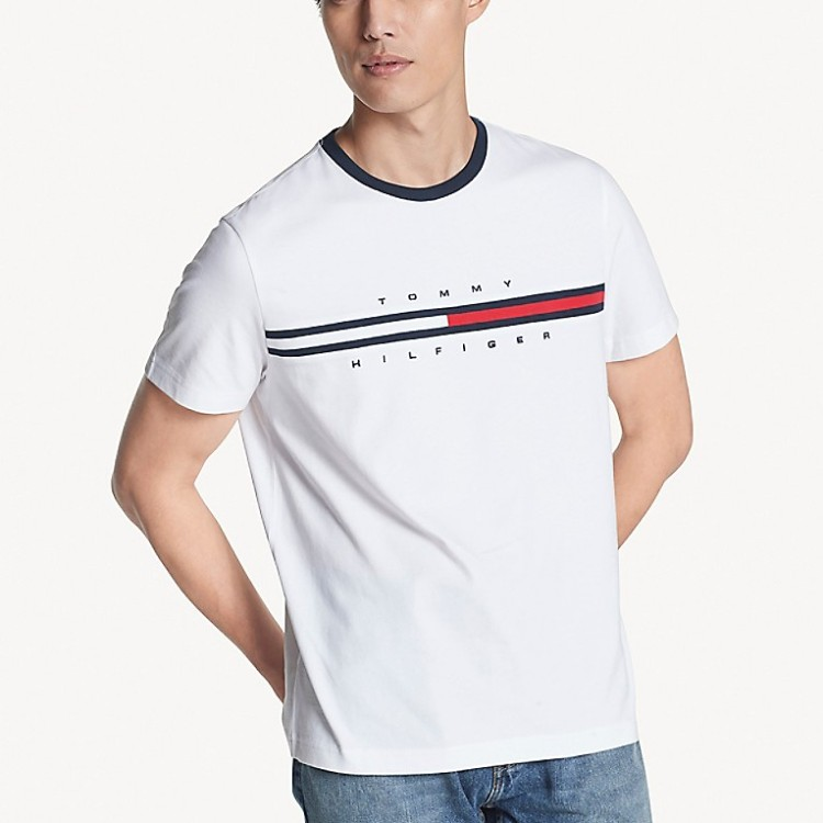 TOMMY HILFIGER 男士基础款 logo 旗帜T恤