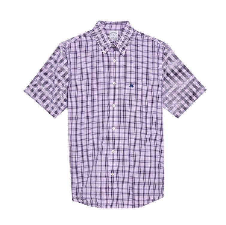 Brooks Brothers 男士短袖格纹衬衫