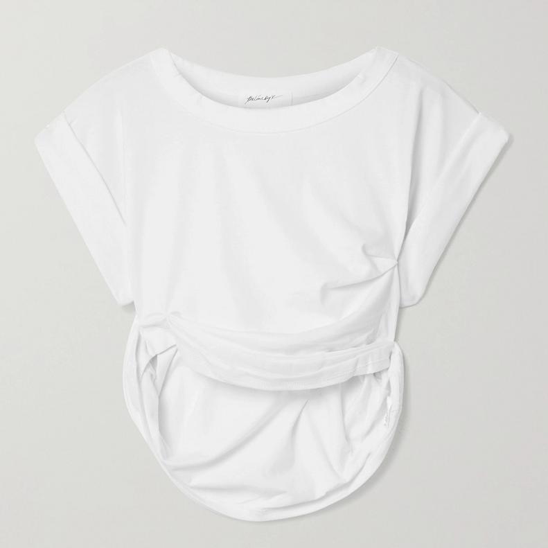 THE LINE BY K Joseph 缩褶棉质混纺平纹布短款T恤