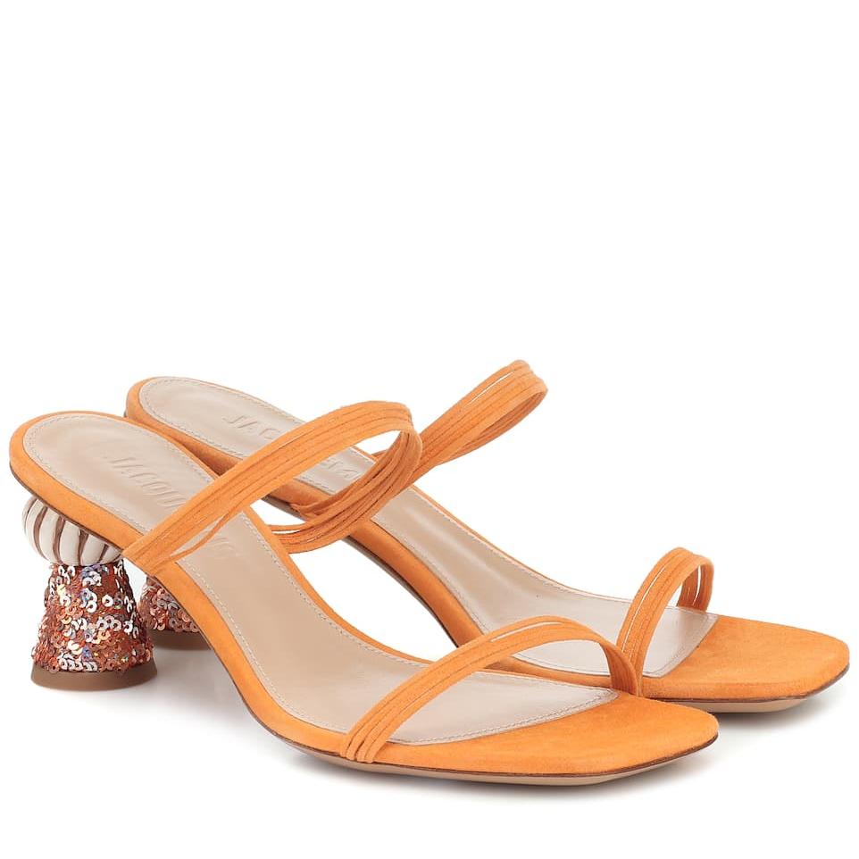 JACQUEMUS Les Mules Vallena 绒面革凉鞋
