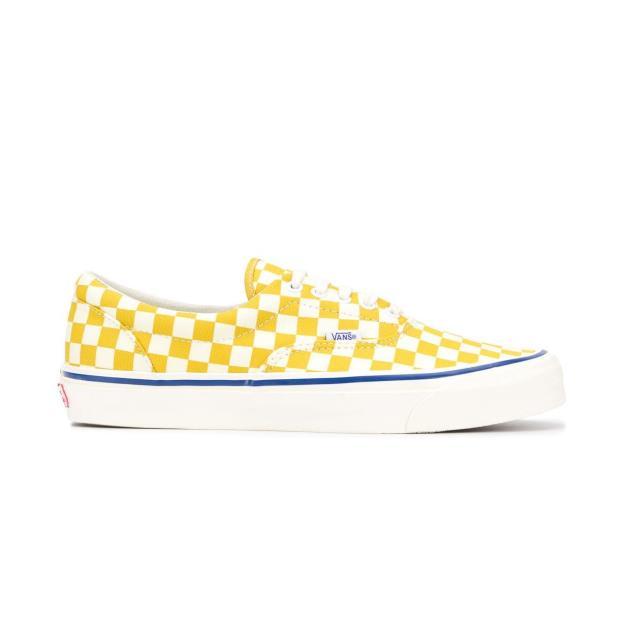 Vans 女款黄白格纹板鞋