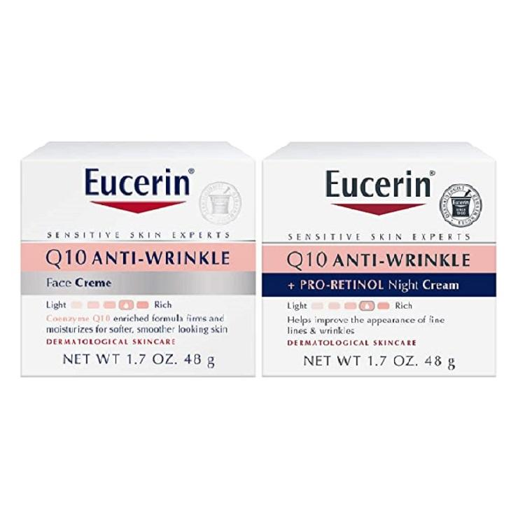 降价!Eucerin优色林 Q10 舒缓紧肤抗皱保湿日霜+晚霜套装 48g*2