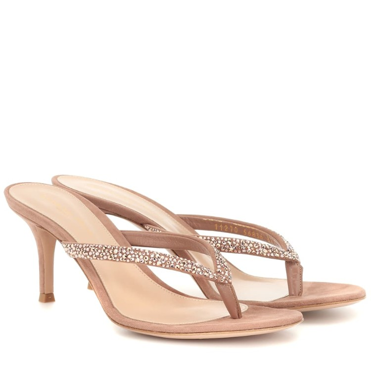 GIANVITO ROSSI Diva 绒面亮钻夹趾凉鞋