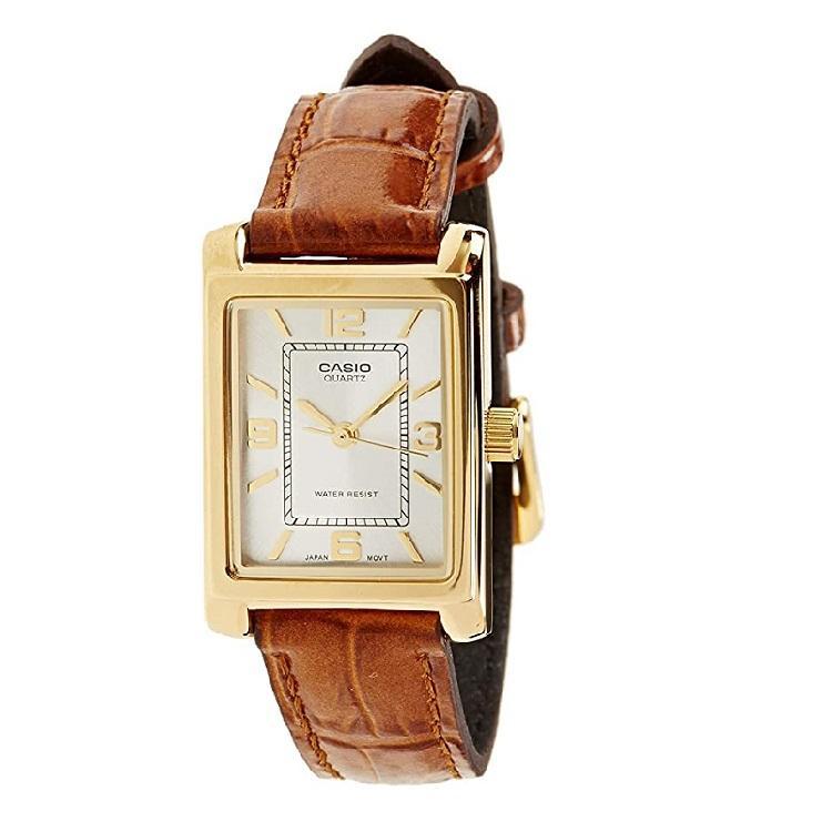 少量补!CASIO卡西欧 LTP-1234PGL-7A 女士皮革表带石英手表