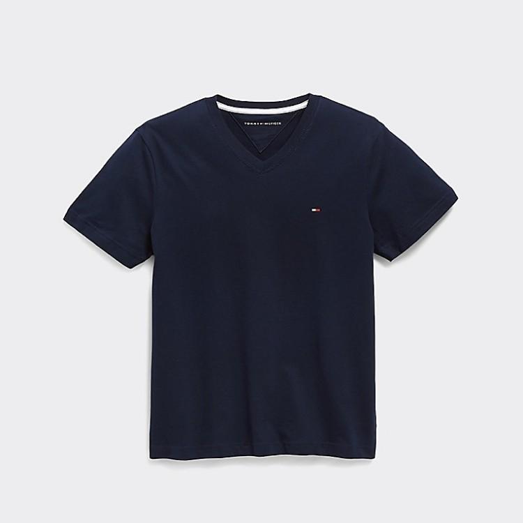 TOMMY HILFIGER 童款V领纯色T恤