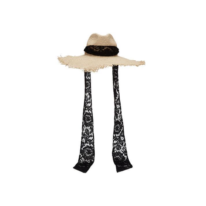 VALENTINO 饰蕾丝系带编织遮阳帽