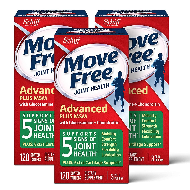 最后一次补货!Move Free 维骨力 氨基葡萄糖和软骨素片 120粒*3盒