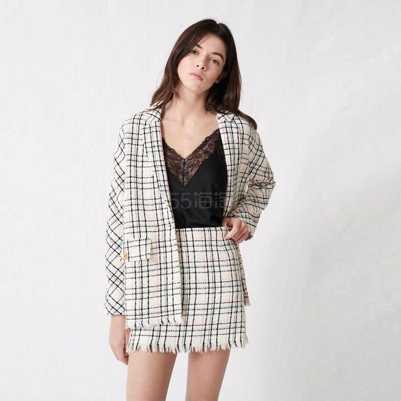 【5折】花呢格纹西装领外套