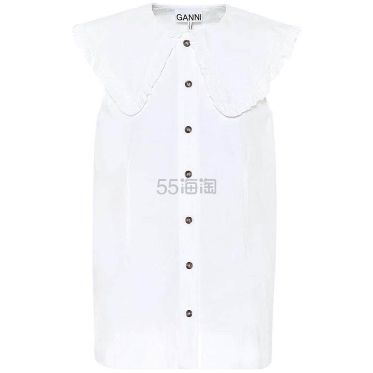 【热卖款】GANNI 大翻领无袖白衬衫