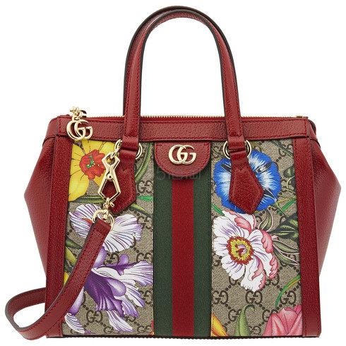 手慢无!【好价】Gucci 古驰 Ophidia 经典GG条纹 女士花卉托特包