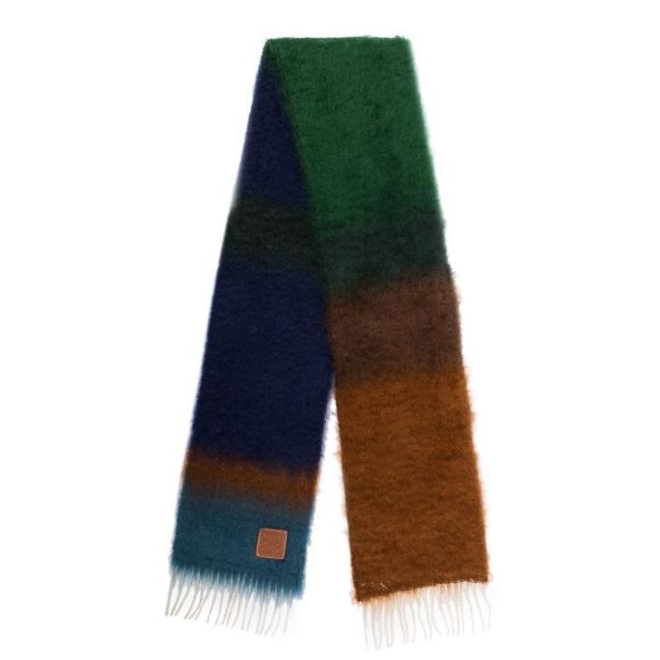 LOEWE 罗意威多色条纹针织围巾