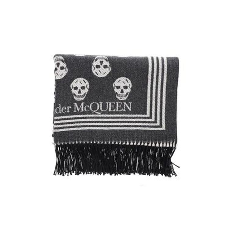 Alexander McQueen 骷髅头图案流苏边围巾 1条