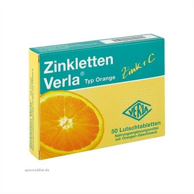 Zinkletten Verla 儿童/孕妇补锌+维生素C 橙味咀嚼片 50粒