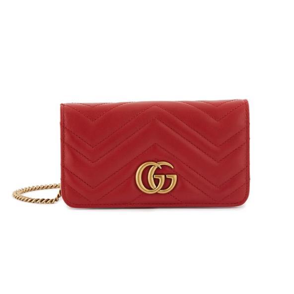 GUCCI GG Marmont 红色真皮链条包