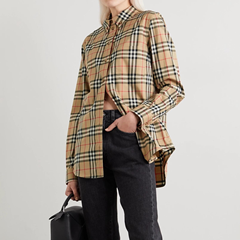 BURBERRY 格纹棉质混纺衬衫