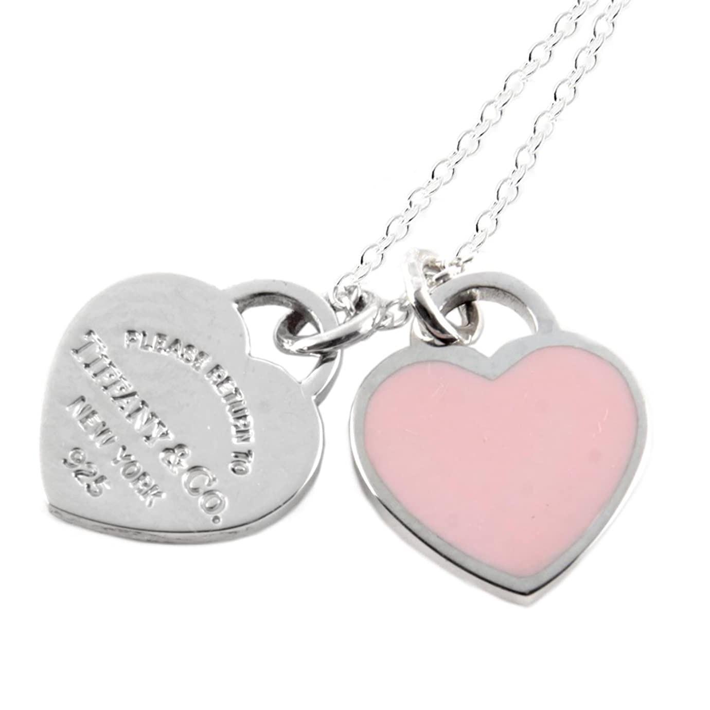 近期好价!Tiffany & Co 蒂芙尼 粉色珐琅双心吊坠项链
