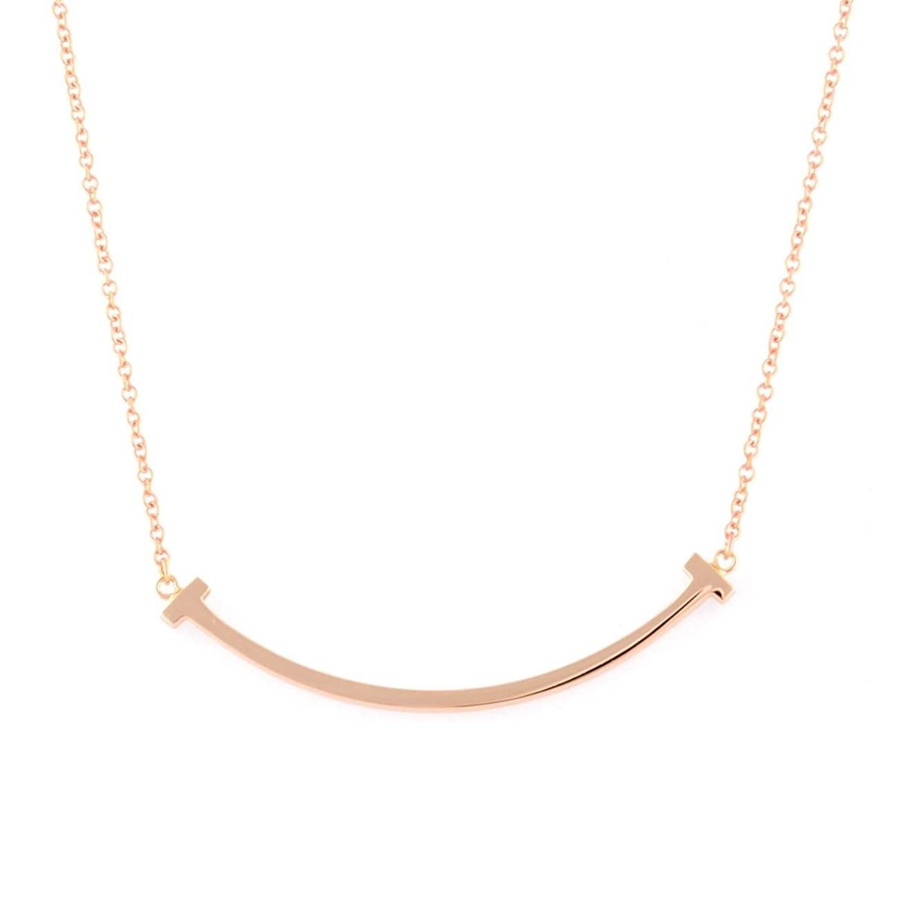 Tiffany & Co 蒂芙尼 T系列 18K玫瑰金Smile 项链小号 35189432