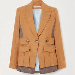 潮流推荐!【7.5折】VERONICA BEARD Aitana Dickey 拼接羊毛混纺格纹斜纹布外套