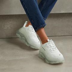 【8.3折】BALENCIAGA Triple S Clear Sole 品牌标志刺绣皮革牛巴革网眼运动鞋