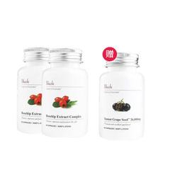 【买二送一】 Unichi 玫瑰果精华胶囊 60粒 2件装(送1瓶葡萄籽)