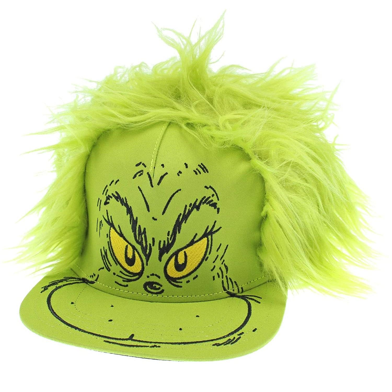 Bioworld Dr. Seuss 帽子 Grinch 毛发服装平舌帽