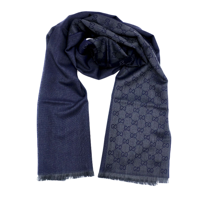 Gucci 古驰GG字母图半网格羊毛围巾