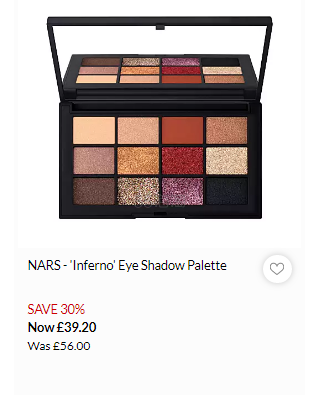 NARS Studio 54 Inferno 12色眼影盘 £39.2(约351元) - 海淘优惠海淘折扣|55海淘网