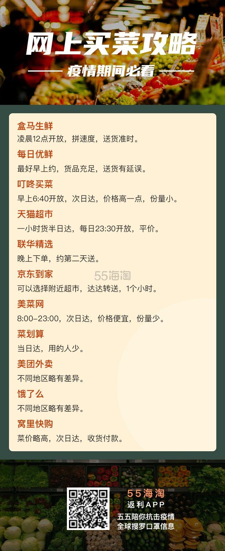 【网上买菜攻略】防疫期间必看 附上海市口罩预约信息! - 海淘优惠海淘折扣|55海淘网