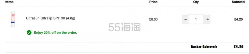 Ultrasun 优佳 防晒唇膏 £4.2(约38元) - 海淘优惠海淘折扣|55海淘网