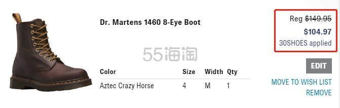 【额外7折】Dr. Martens 1460 中性款8孔马丁靴 4.97(约724元) - 海淘优惠海淘折扣|55海淘网