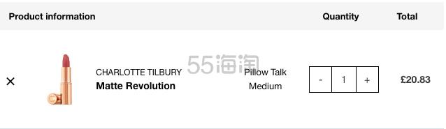 【新色上架】Charlotte Tilbury CT 哑光唇膏 Pillow Talk Medium £20.83(约190元) - 海淘优惠海淘折扣|55海淘网