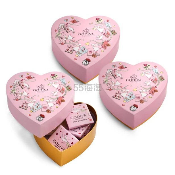Godiva 歌帝梵 限量版迷你巧克力心形礼盒 3件套 6颗/件 .59(约101元) - 海淘优惠海淘折扣|55海淘网