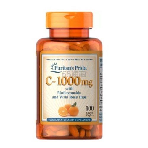 Puritans Pride 普丽普莱 维生素C 含生物类黄酮和玫瑰果 1000mg 100粒 .6(约25元) - 海淘优惠海淘折扣|55海淘网